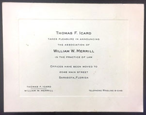 Icard Merrill Firm Announcement - September 4, 1956