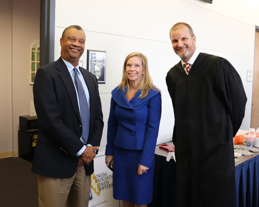Twelfth Judicial Circuit Court judges, from left, Chief Judge Charles Williams, Judge Andrea McHugh, and Judge Thomas Krug attended the ribbon cutting ceremony.