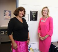 Artist Alicia Accardi and FAWL President Jessica Farrelly. Accardi contributed paintings to the Lactation Room.